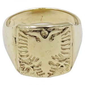 14ct Gold Double Eagle Emblem Large Mens Signet Ring T 10g