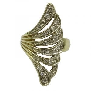 9ct Gold Ladies Fancy Cubic Zirconia Dress Ring Size P 5g