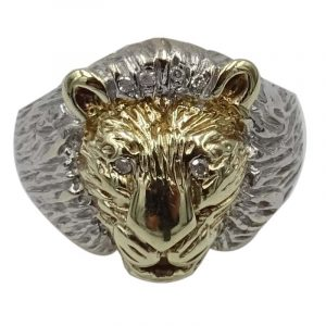 9ct Gold Lion Head Diamond Encrusted Mens Ring 0.07ct T 7.77g