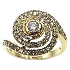 14ct Yellow Gold Diamond Encrusted Fancy Swirl Ring 0.40ct Q 5.02g