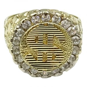 9ct Gold Dollar Sign $ Cubic Zirconia Mens Dress Ring W 8.75g