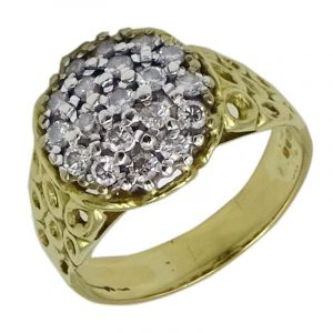 18ct Gold Vintage Diamond 0.40ct 19 Stone Ladies Cluster Ring 1973 5.80g Q