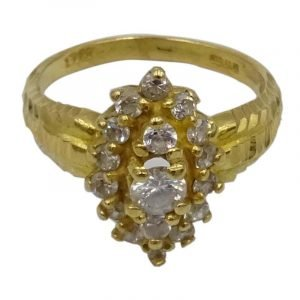 22ct Gold 0.916 Ladies Cubic Zirconia Cluster Dress Ring N 5.40g