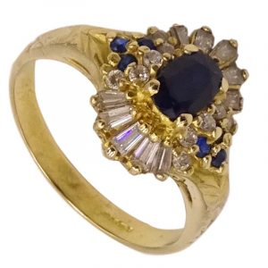 22ct Indian 0.916ct Yellow Gold Ladies Blue Stone CZ Dress Ring P 6.47g