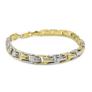 "9ct Two Colour Gold Fancy U Shaped Ladies Bracelet 7"" 6.43g 6mm"