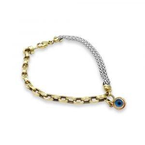 14ct White Yellow Gold Evil Eye Fancy Bracelet 8.5g Length 8inch