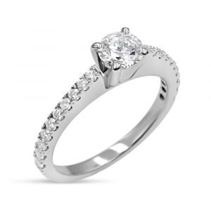 18ct White Gold Ladies Diamond 0.40ct VS2 Round Brilliant Engagement Ring Size L