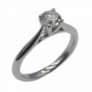 18ct White Gold Engagement Ring Round 0.40ct H I1 IGI CERTIFIED i 1/2
