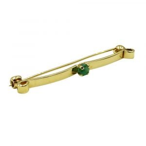 9ct Gold Emerald Brooch Vintage Claw Set 50mm 2.8g