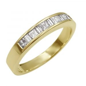 14ct Gold Chanel Set Baguette Princess Diamond 0.46ct Half Eternity 3.5mm Ladies Ring P 3.57g