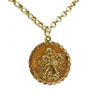 "9ct Gold Saint Christopher 23mm & Belcher Chain 22"" 2mm 10.82g"