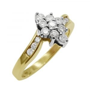 18ct Gold Ladies Marquise Design Cluster Diamond 0.55ct 1/2carat Ring Size N