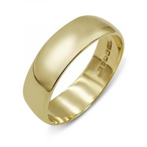 9ct Gold Wedding Ring Band Plain 6mm Size V 1/2