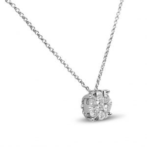 14ct Diamond Cluster Pendant White Gold 0.50ct Pendant Chain