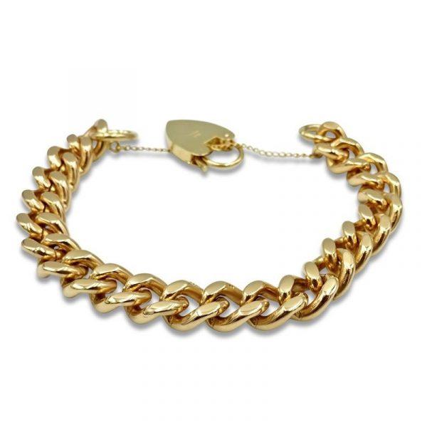 "9ct Gold Charm Bracelet Vintage Ladies Solid 7"" 59g"