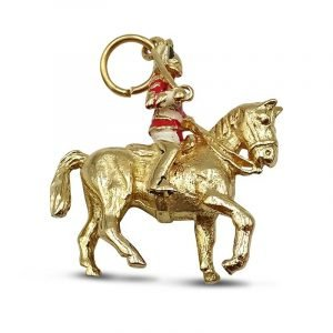 9ct Gold Queens Horse Guard Enamel Charm Pendant