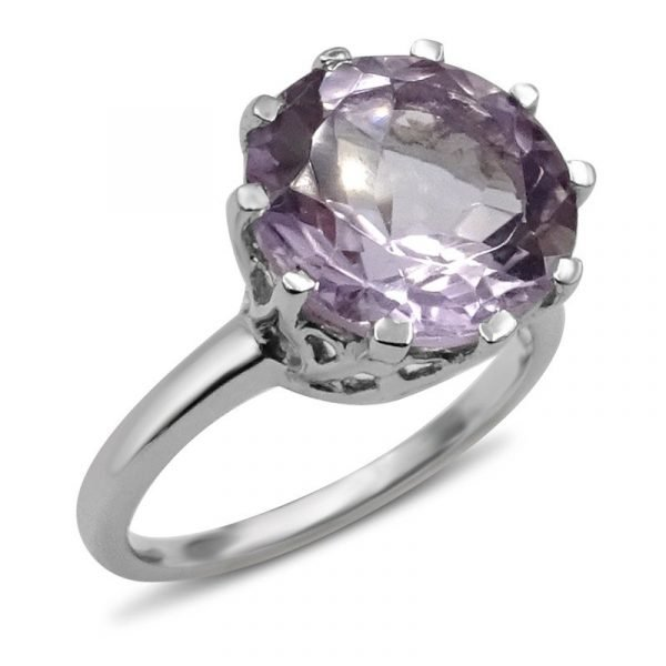 Pre Owned Silver Ring Large Ladies Purple