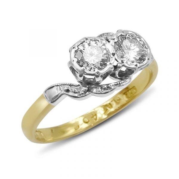 18ct Gold Vintage Two Stone Diamond Ring 0.70ct