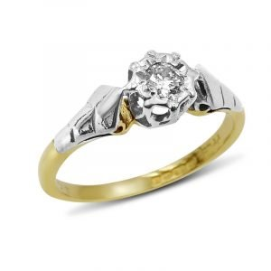 18ct Gold Vintage Engagement Ring Diamond 0.10ct