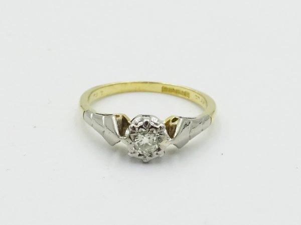 18ct Gold Vintage Engagement Ring Diamond 0.10ct