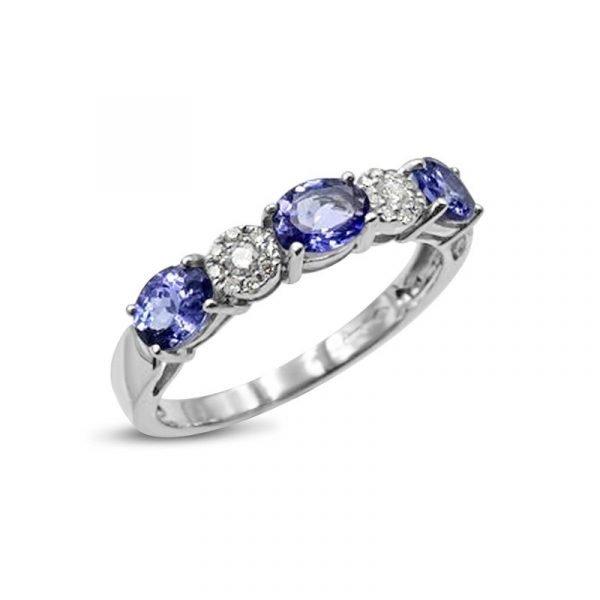 Tanzanite White Gold Eternity Diamond 18ct Ring