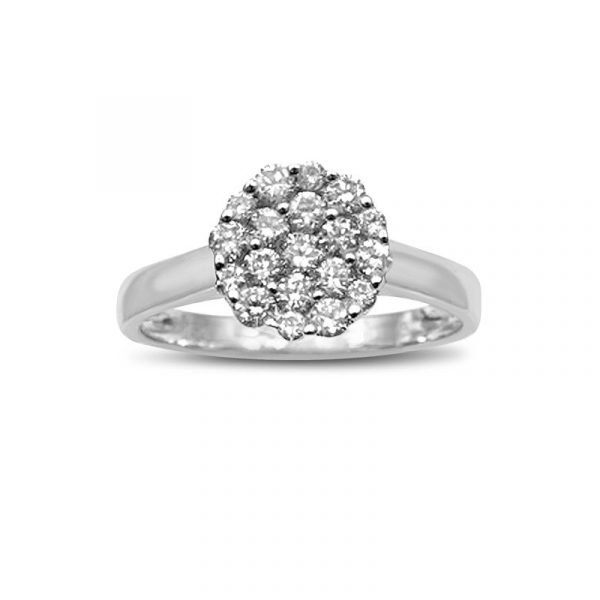Brand New Ladies 18ct white gold circular cluster ring set with a cluster of round brilliant cut diamond totalling 0.43ct in diamond weight