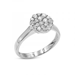 18ct Circular Cluster Ring Ladies White Gold 0.43ct