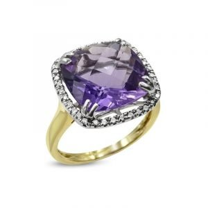 Amethyst 18ct Gold Diamond 7ct Cocktail Ladies Ring