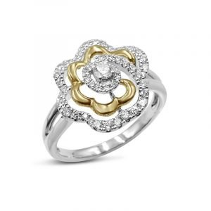 18ct White Gold Cluster Diamond Ring Rose Gold Detail