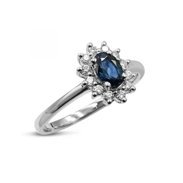 Sapphire and Diamond 18ct White Gold Cluster Ring