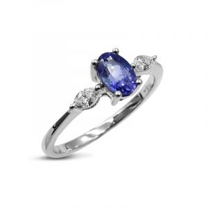 Tanzanite White Gold Diamond 18ct Ladies Ring