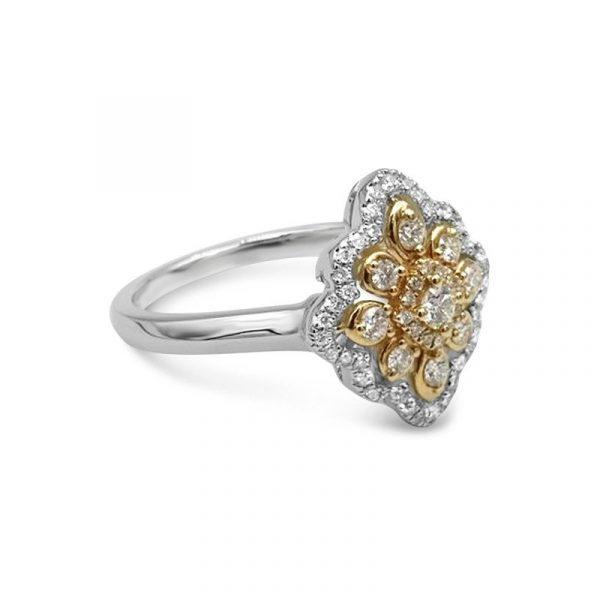 Diamond White Gold Ladies Cluster Ring New