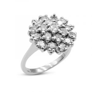 Diamond Cluster Ring White Gold 18ct for Ladies