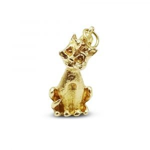 Standing Cat Mouse On Head Gold Vintage 9ct Gold Charm