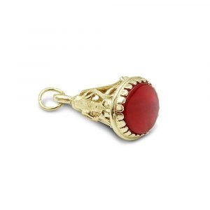 Watch Fob Charm 9ct Gold Carnelian Pendant