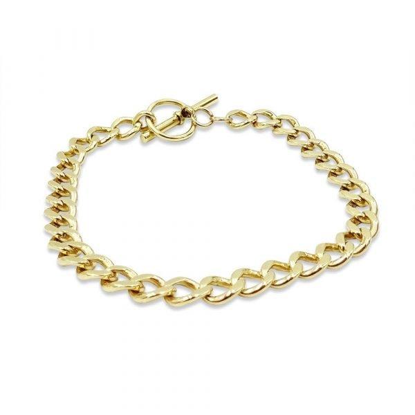 9ct Gold Curb T-Bar Bracelet 7.5 Inch