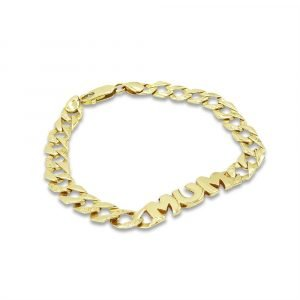 Mum Bracelet Gold 9ct 7.5inch Bark Finish