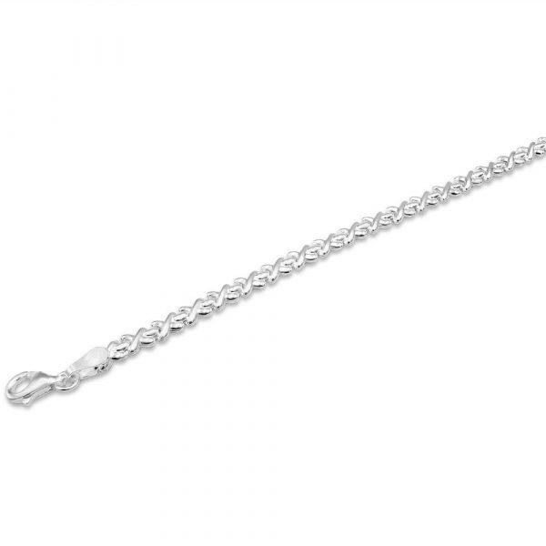 Ladies Silver Bracelet Kiss X Design
