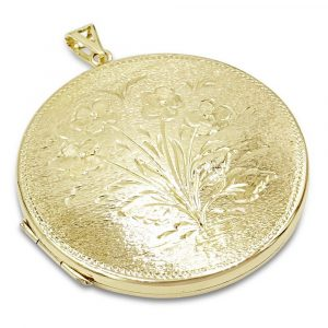 9ct Gold Locket Round Large 41mm