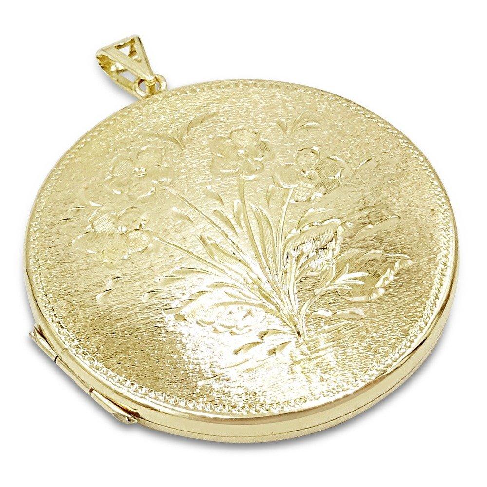 9ct Gold Locket Round Large 41mm