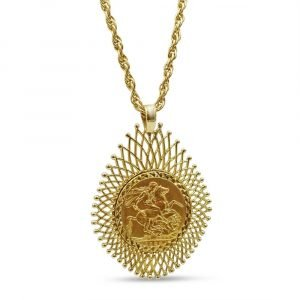 Gold Sovereign Necklace Ladies 9ct 22ct 1928