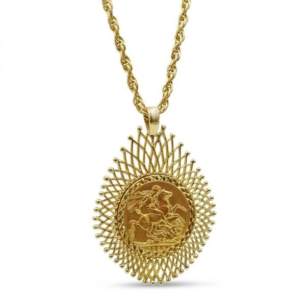 Gold Sovereign Necklace Ladies 9ct 22ct