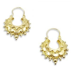 9ct Gold Creole Victorian Style Earrings