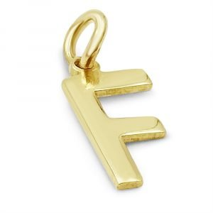 9ct Gold F Initial Small Charm Pendant