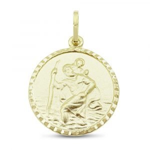 Gold St Christopher Circular Pendant 11mm