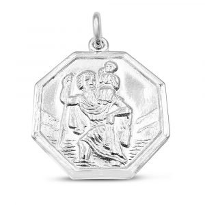 White Gold Saint Christopher Octagonal Pendant