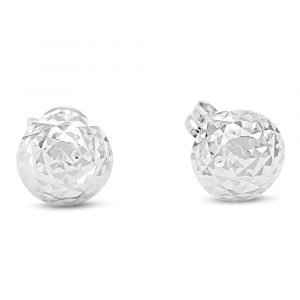 9ct White Gold Half Ball Stud Diamond Cut Earrings