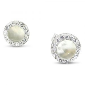 Mother Of Pearl Earrings 9ct White Gold