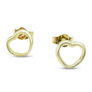 Gold Open Heart Earrings 9ct