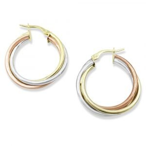 Three Colour Gold Hoop Earrings 9ct